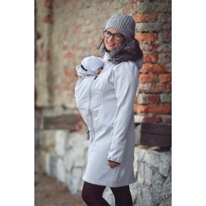 Softshellový kabát s kožušinkou svetlosivý