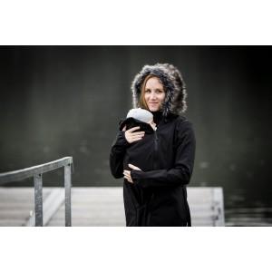 Softshellový kabát s kožušinkou čierny
