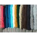 Zľava: ružová,lososovoružová,tm.fialová,petrolejová,modrá,tyrkys,krém.,horčica,tm.zelená,piesková,hnedá2x,antracit,sivá,sv.si